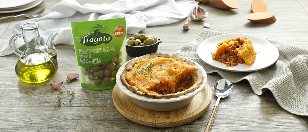Pay vegano de verduras y lentejas con aceitunas