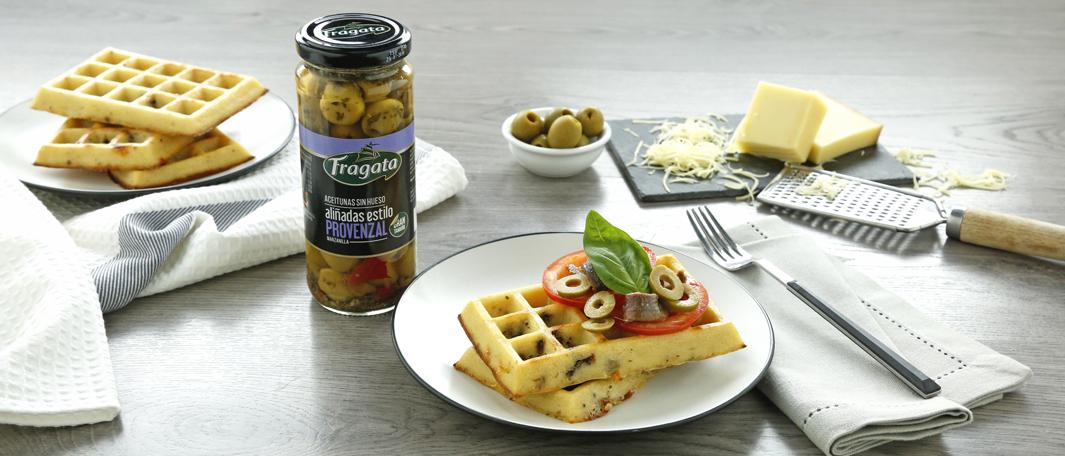 Gofres salados con aceitunas Fragata