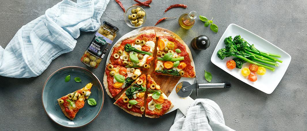 Pizza gluten free con aceitunas