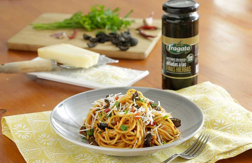 Receta de pasta con aceitunas Fragata