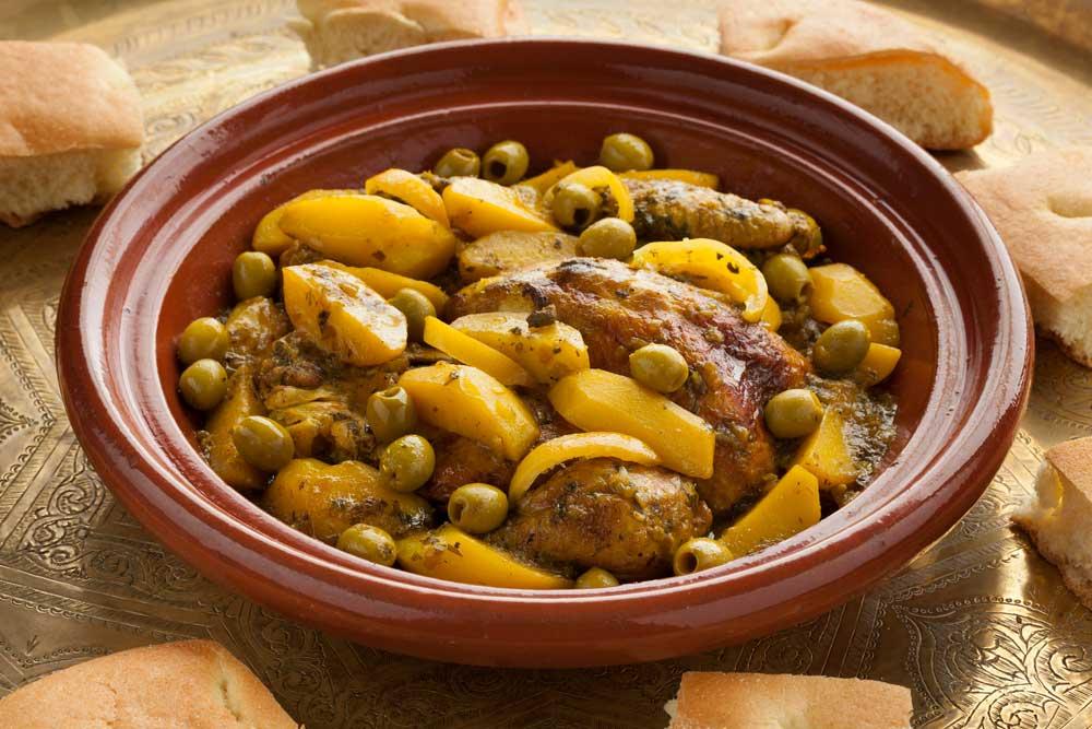 Tajín de pollo con limón y aceitunas verdes Fragata