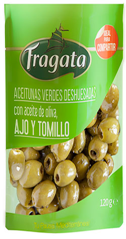 Pitted Hojiblancas olives with olive oil, garlic and thyme