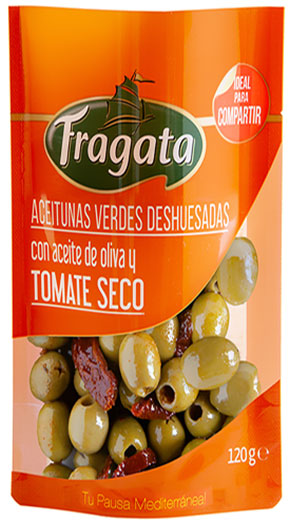 Pitted Hojiblancas olives with olive oil and sundried tomato