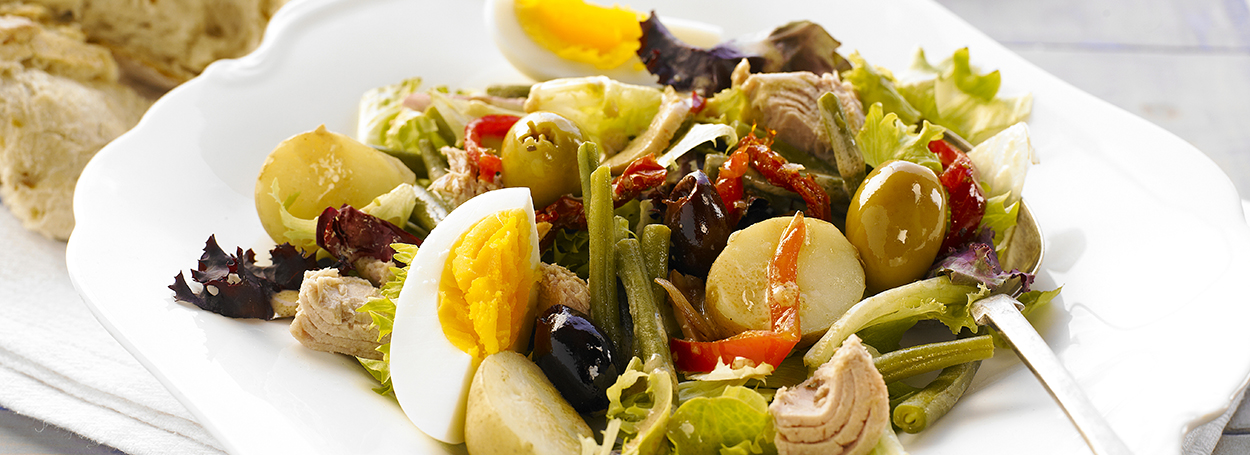 Nouveau Niçoise with Mediterranean olives