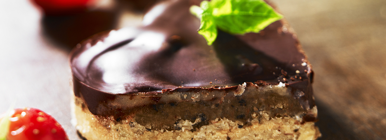 Millionaire's shortbread with black olive caramel