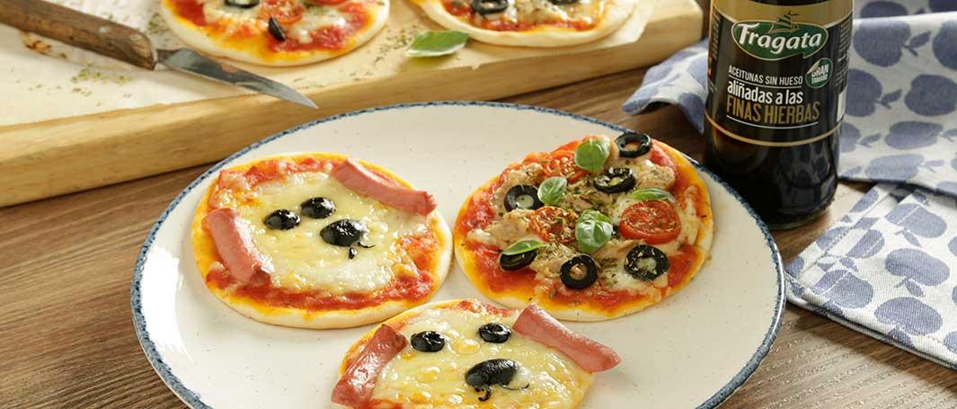 Mini pizzas con aceitunas Fragata para los peques - Fragata