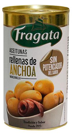 Aceitunas manzanilla verdes rellenas anchoa sin potenciador de sabor