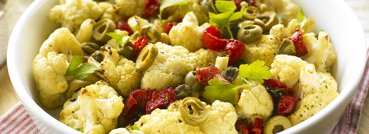 Roasted cauliflower with piquillo peppers