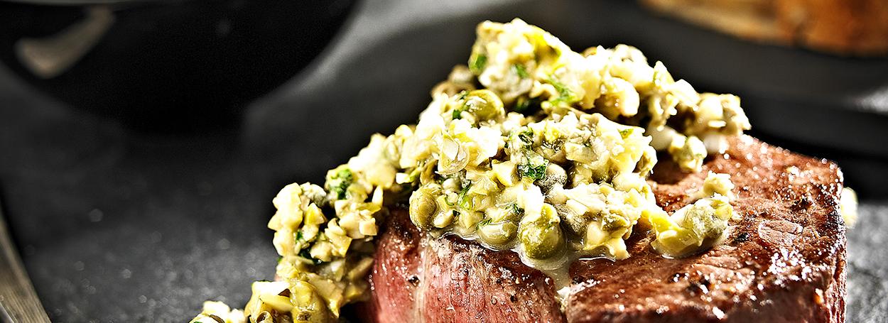 Steak & green olive tapenade