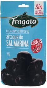 Aceitunas Negras Sin Hueso Aliñadas con Sal Marina