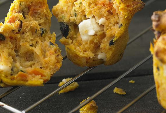 Pumpkin, feta and olive mini savoury muffins