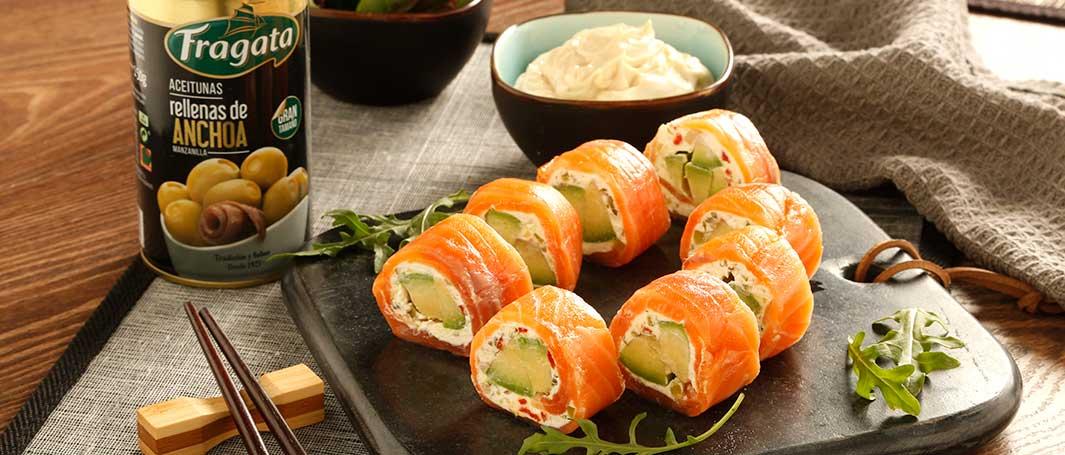 Falsos makis de salmón con aceitunas Fragata